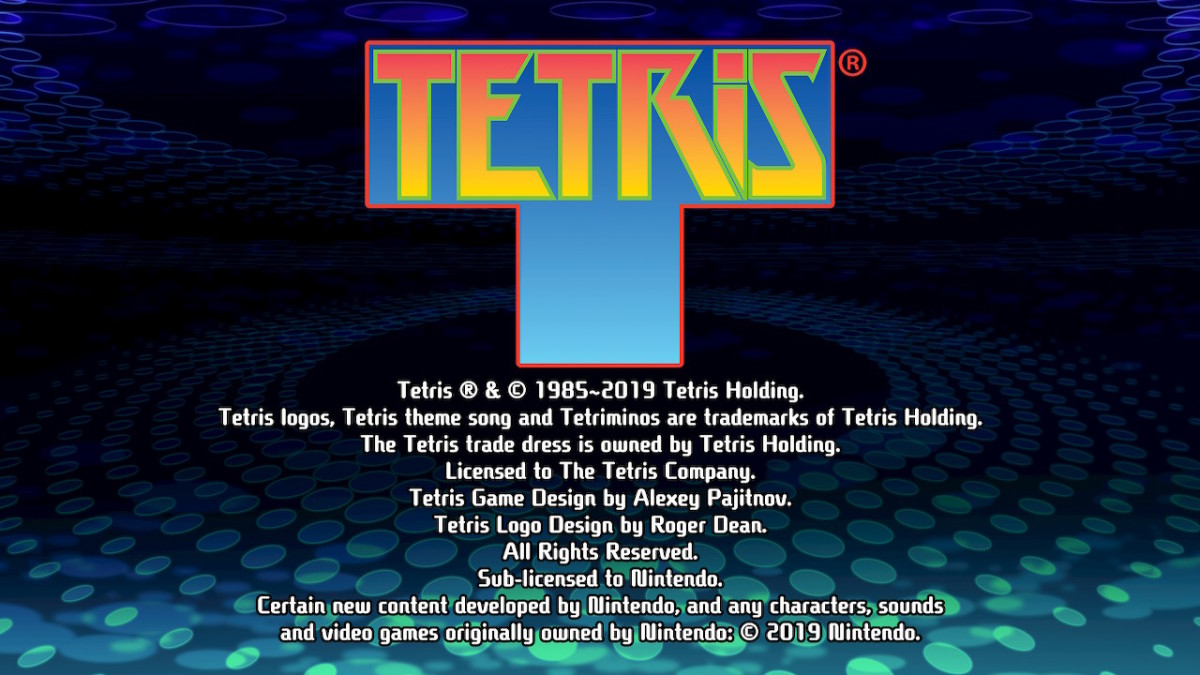 Tetris 99 title screen.