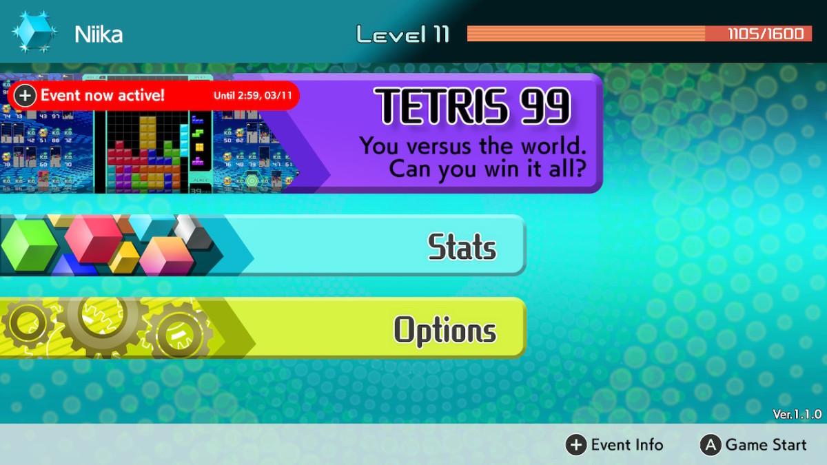 Tetris 99 menu screen during an active event.