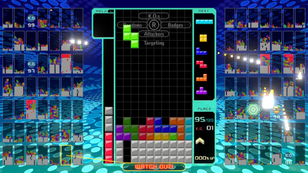 """Tetris 99"" is an exciting battle-royale spin on a classic puzzle game. There is one opponent about to attack."