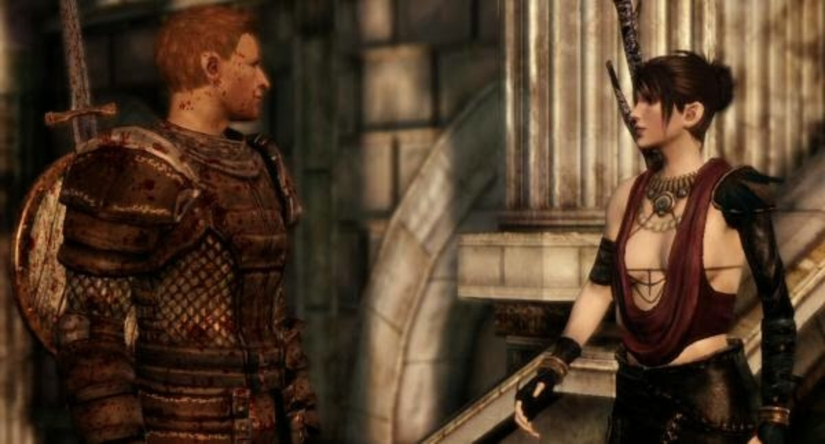 Alistair and Morrigan argue outside Lothering.
