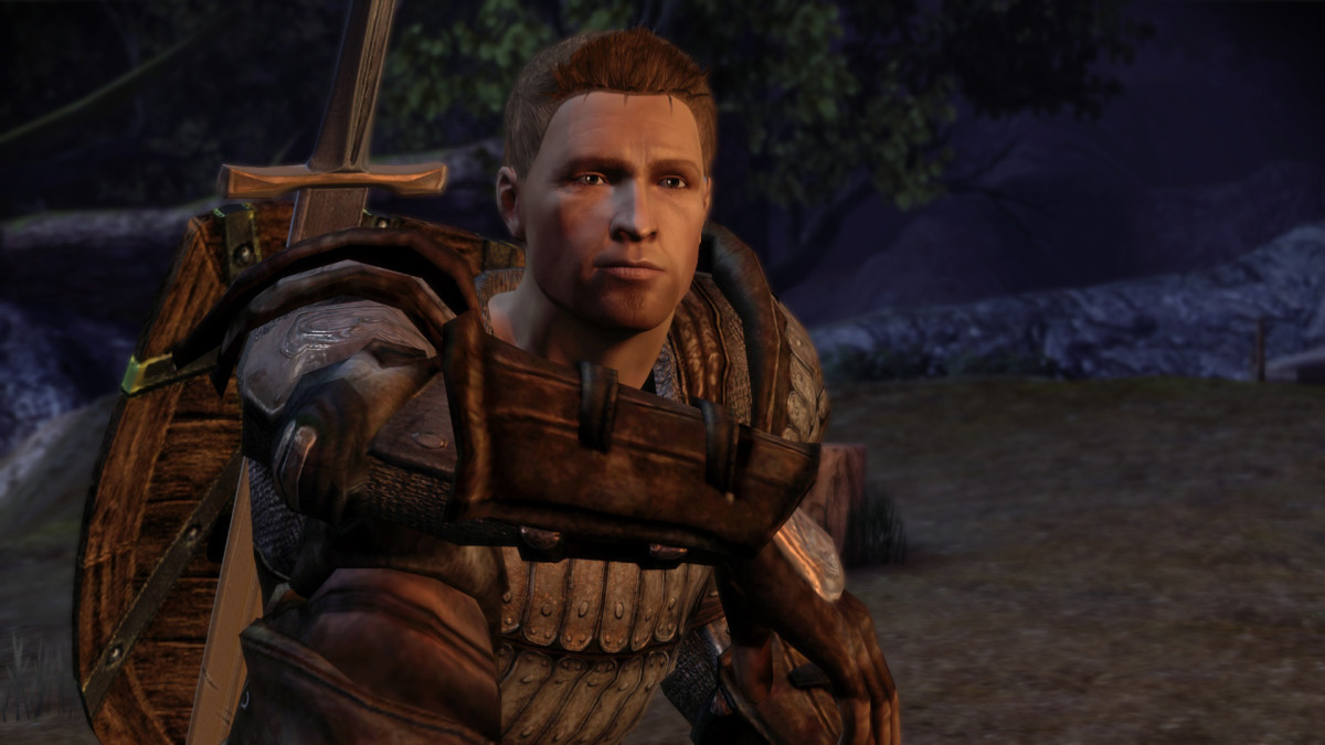"""Alistair in the camp in """"Dragon Age: Origins."""""""