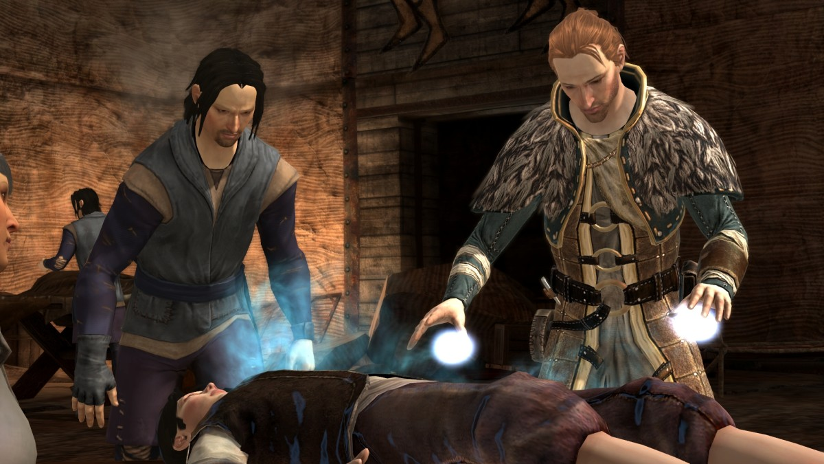 "Anders healing refugees in ""Dragon Age 2."""