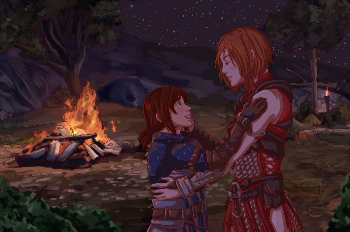 Fan art of the dwarven Warden princess and Leliana. So cute. ^^