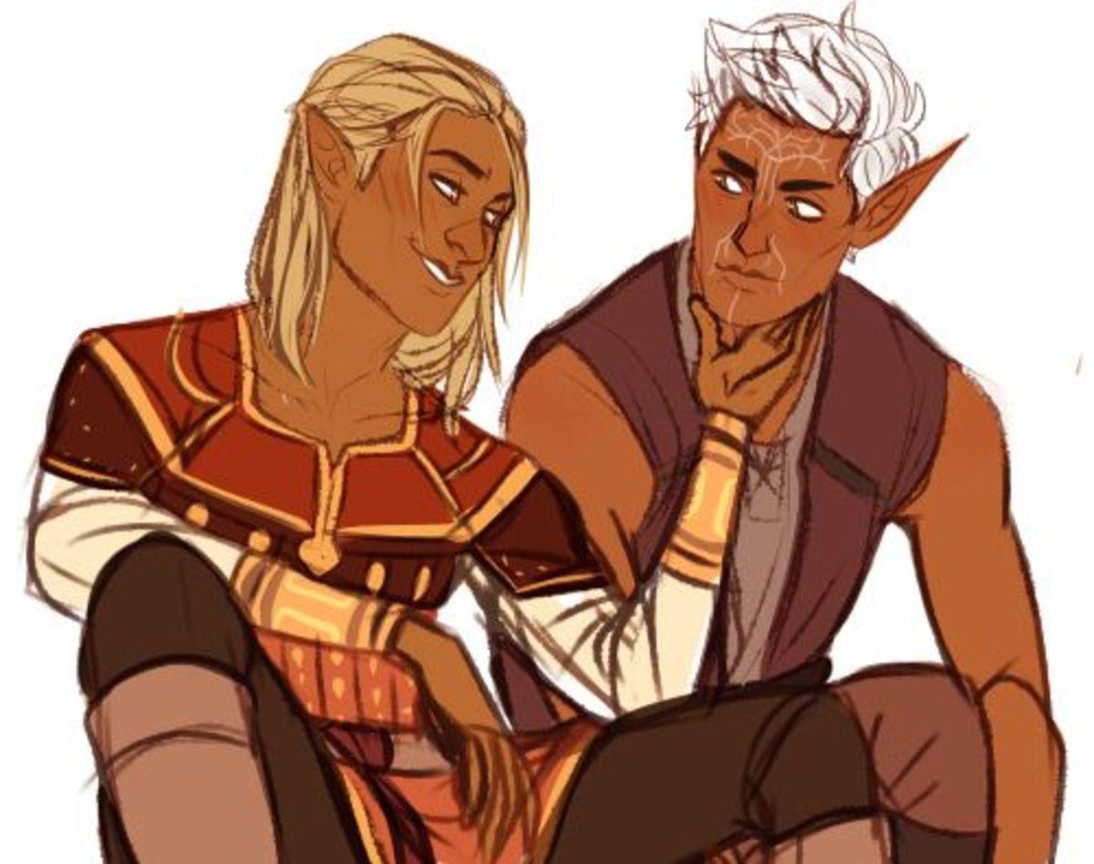 Zevran and male Warden fanart.