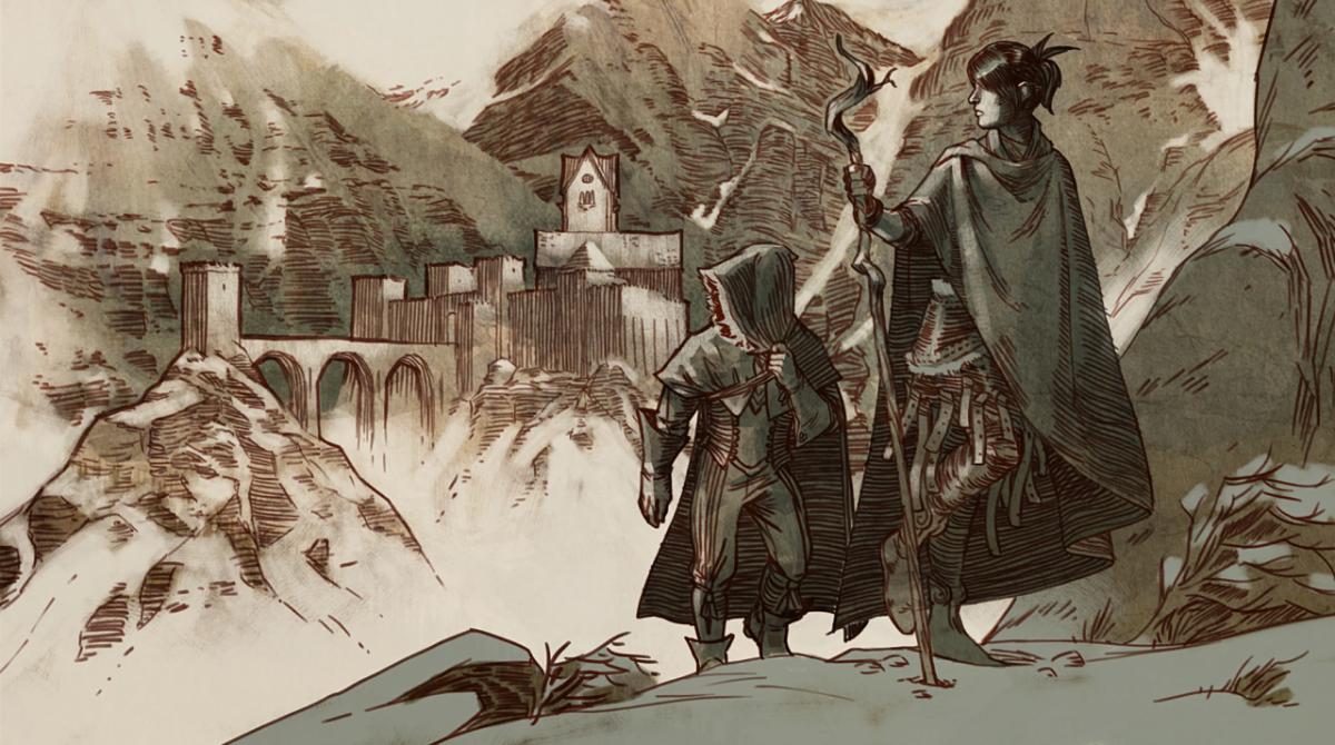 Morrigan and Kieran leave Skyhold.
