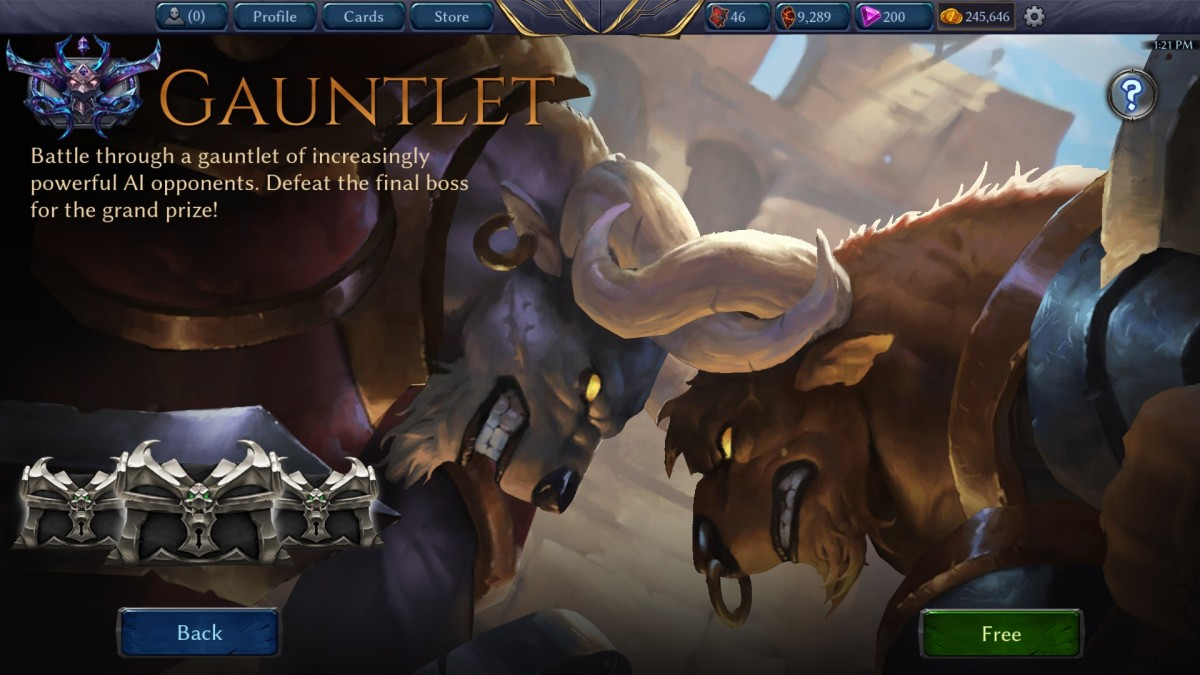 The loading screen for the Gauntlet, the most common AI matches in-game.