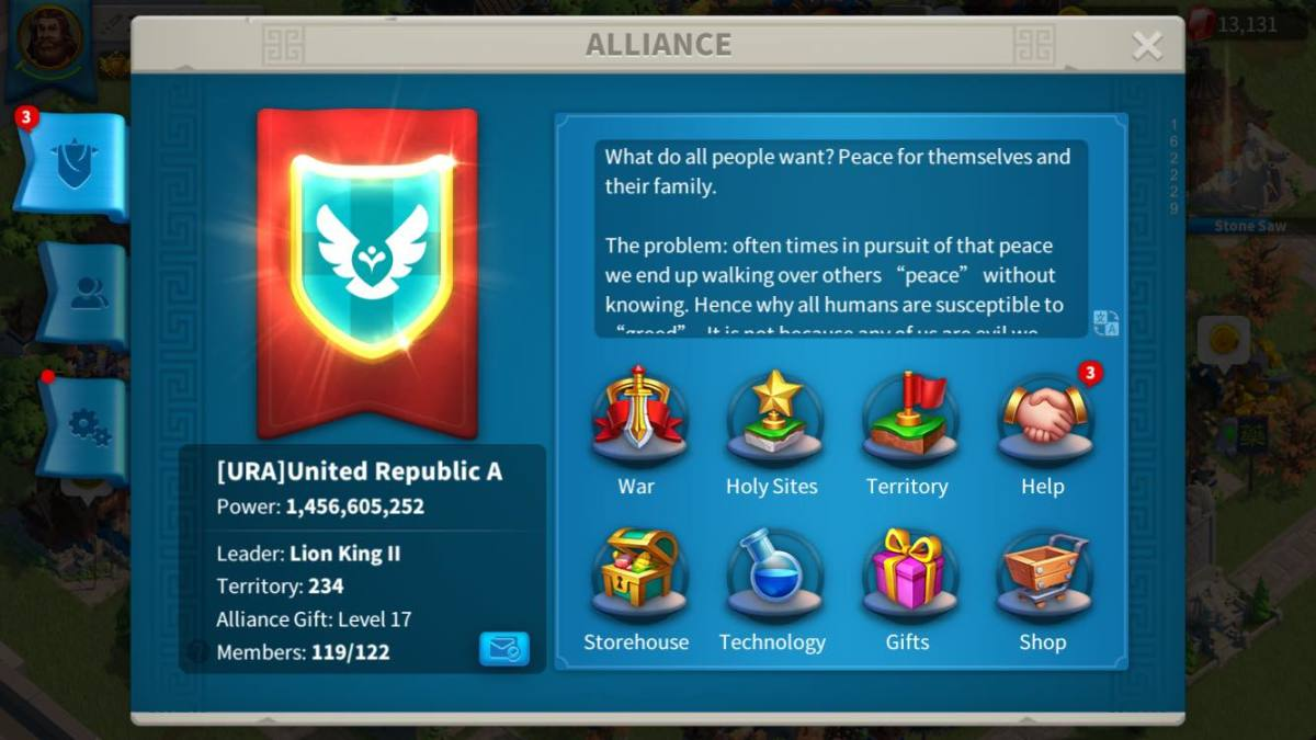 Alliance Page in Rise of Kingdoms