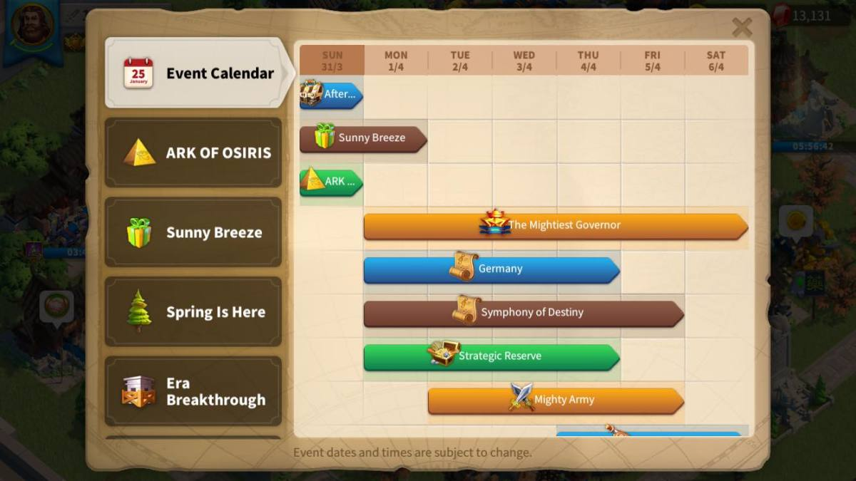 Rise of Kingdoms Calendar of Events Guide