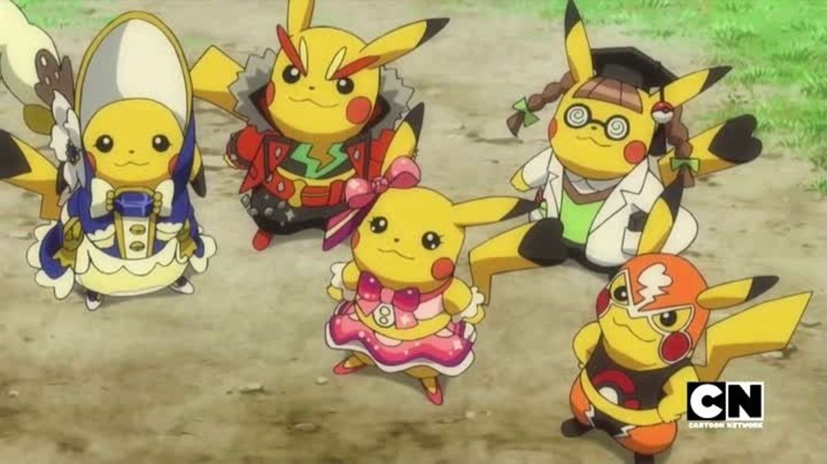 Five Pikachu in different fashionable cosplays, as they appear in the Pokemon anime.