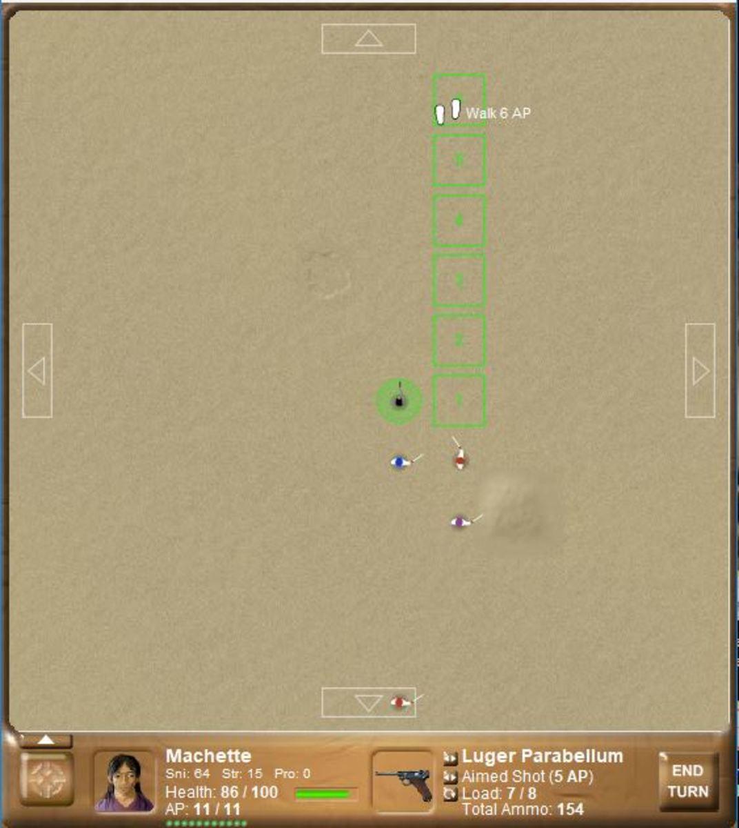 Snippet of combat screen; battle in progress