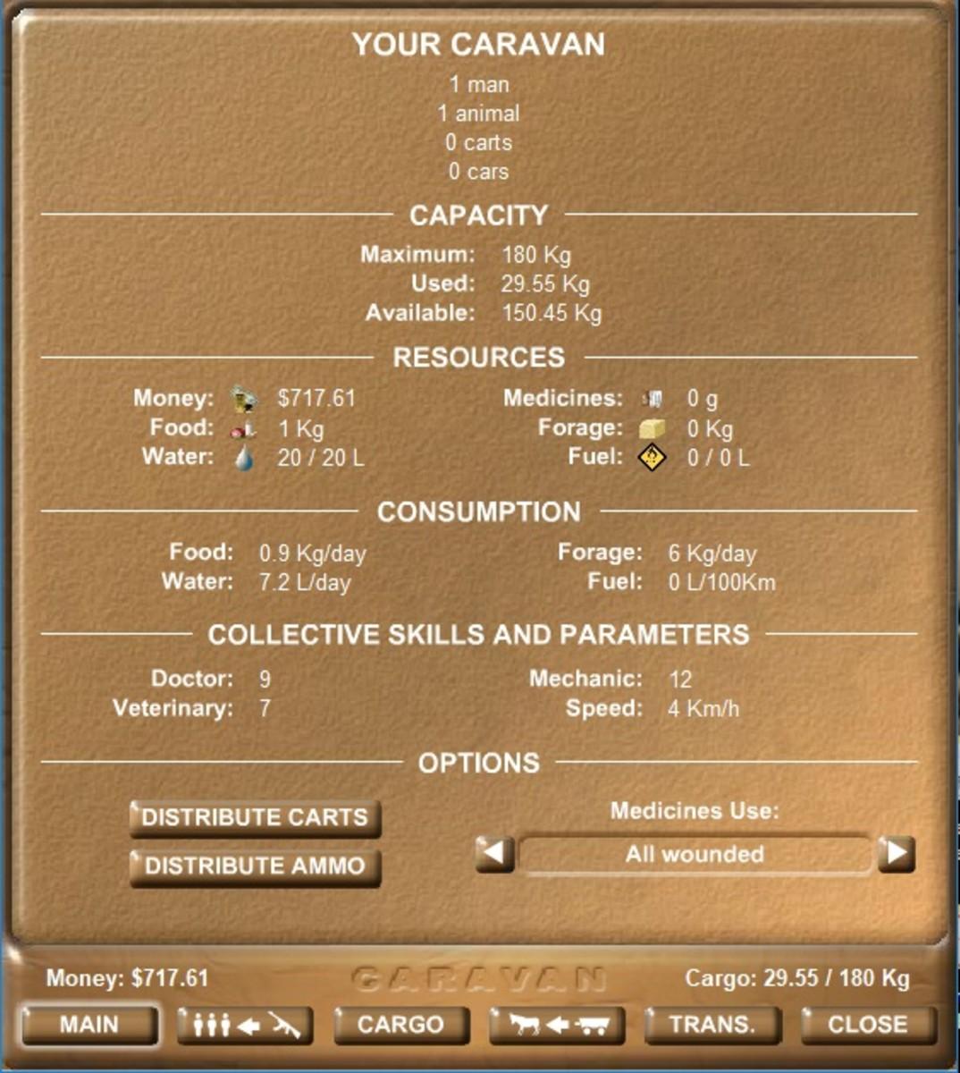 The main screen for the caravan menu.