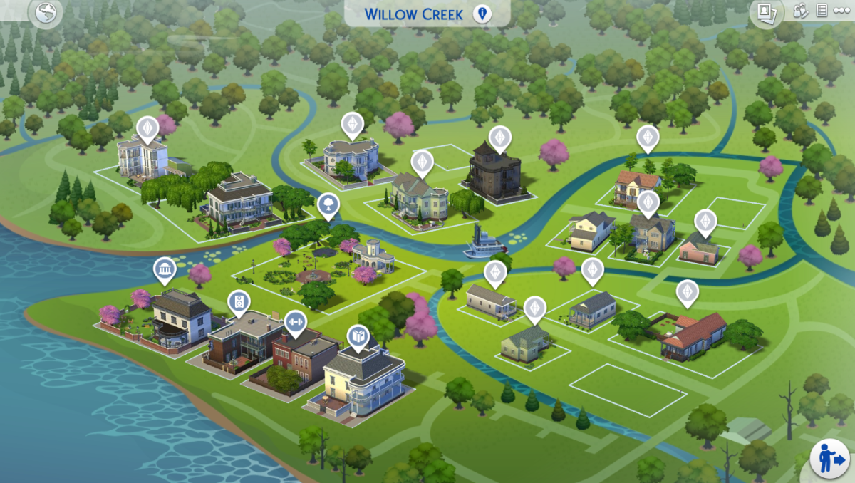 The Sims 4 comes with flat, pre-defined maps.  You can only place lots in the specific spots on the map, and they can only be the sizes that the developers created- nothing larger than whatever the space allows for.