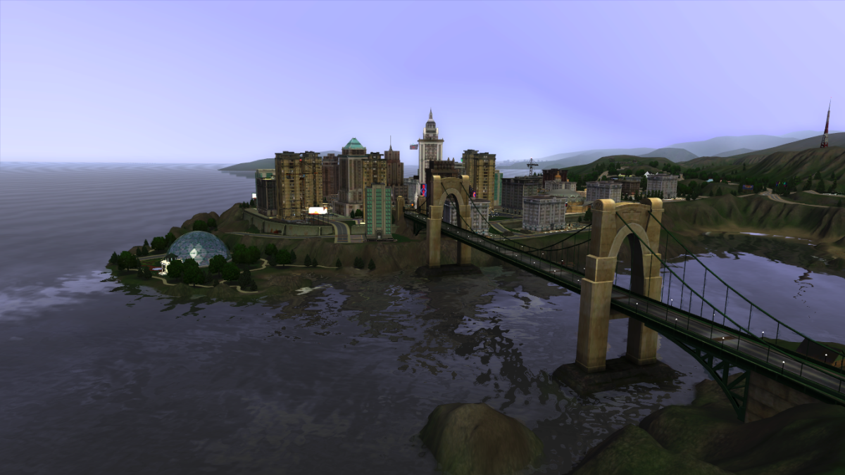 "The ""world is your oyster"" in The Sims 3; the city can be fully explored, with a variety of lots to visit, things for Sims to do, jobs for them to work at, and so on..."
