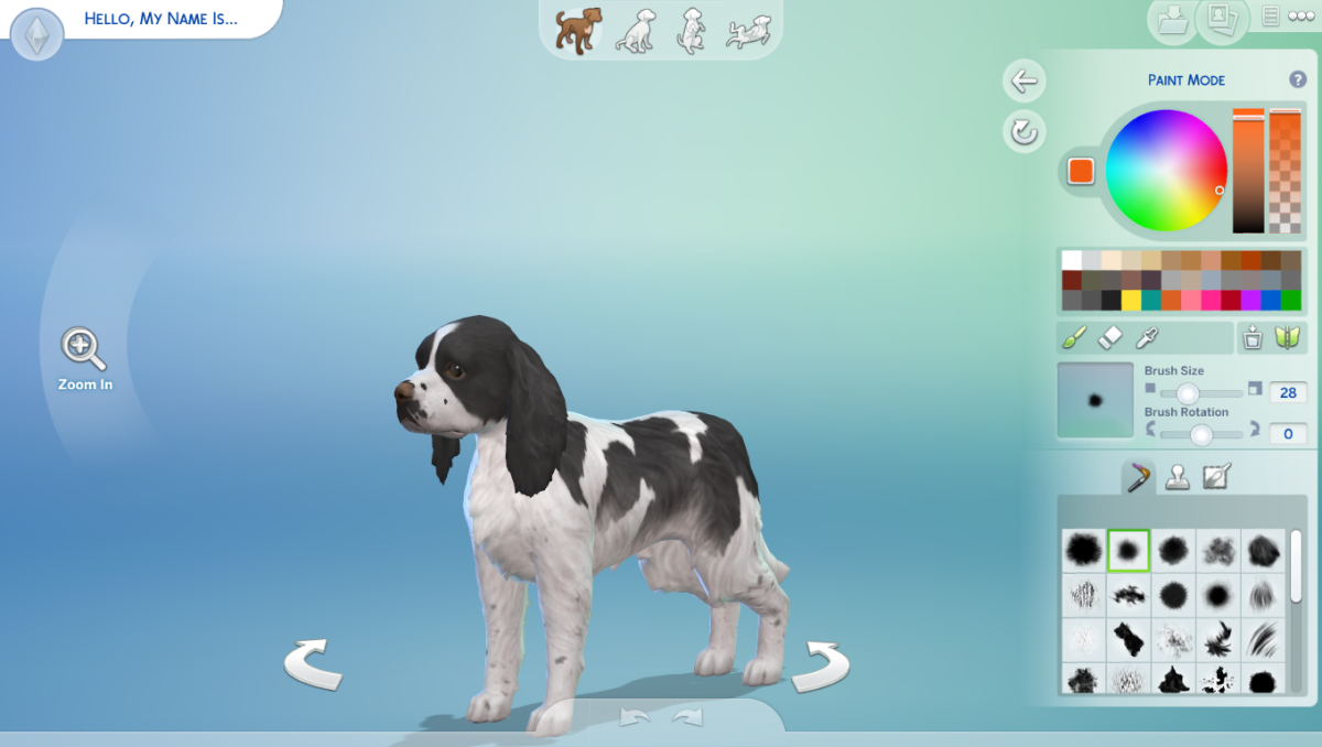 The Sims 4 has a color wheel, but only for use for designing pets in The Sims 4 Cats and Dogs Expansion Pack.