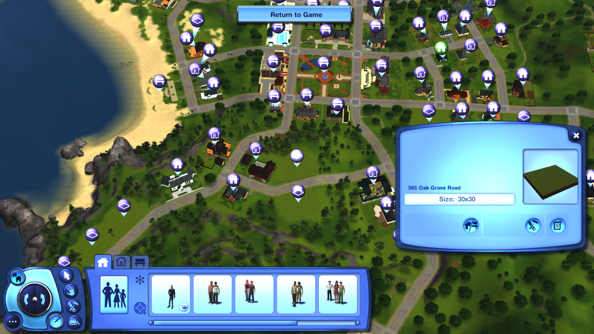 You can place all sorts of lot sizes in The Sims 3, and completely customise the world to your desire.