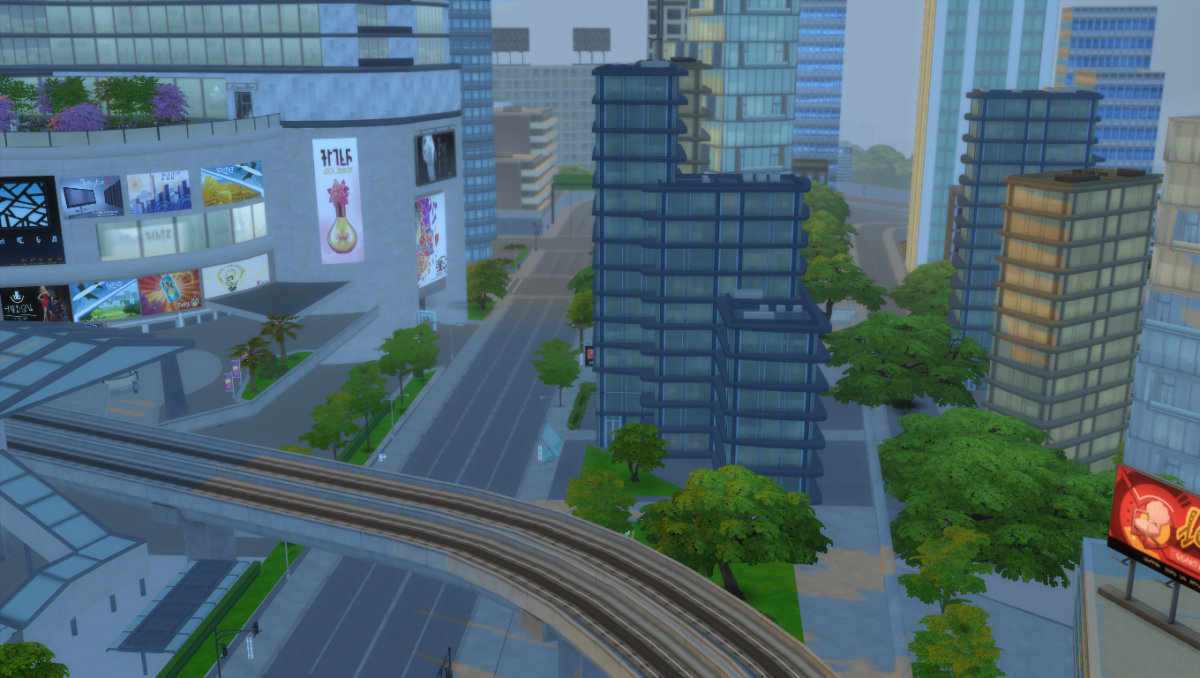 "The Sims 4 City Living pack included the city of San Myshuno.  It's beautiful but most of what you see is simply ""set dressing""; you cannot go into these buildings, interact with the cars, even some of the people on the street are fake."