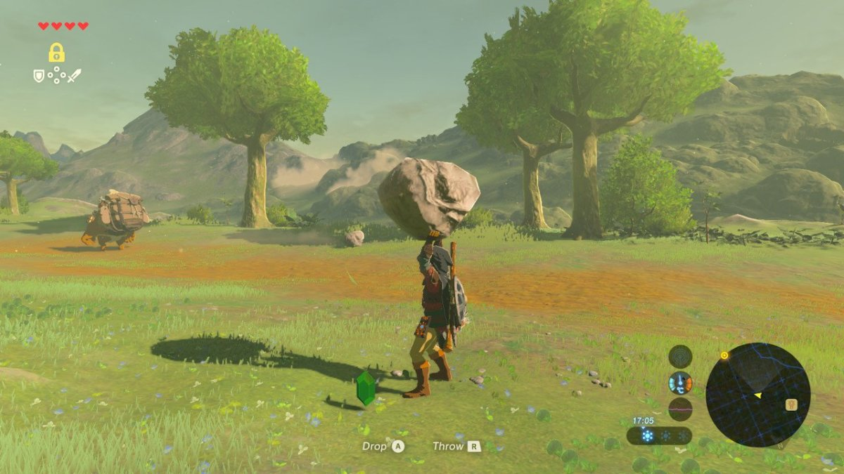 Lift up rocks to find hidden rupees.