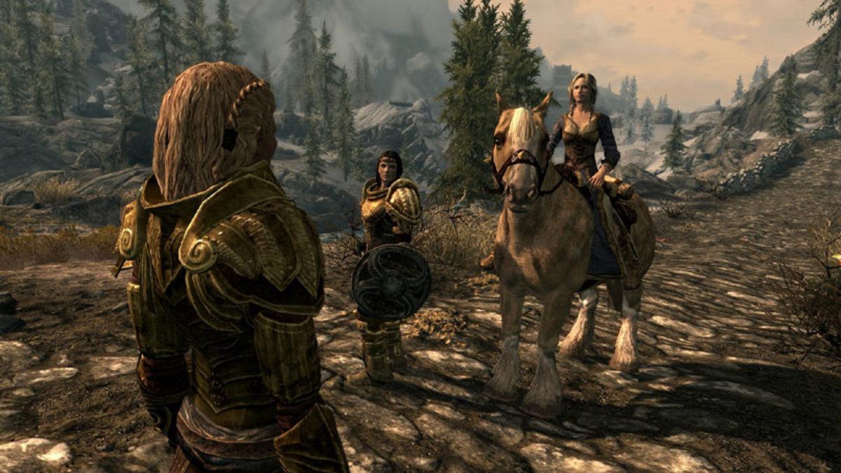 Vilja rides her horse.