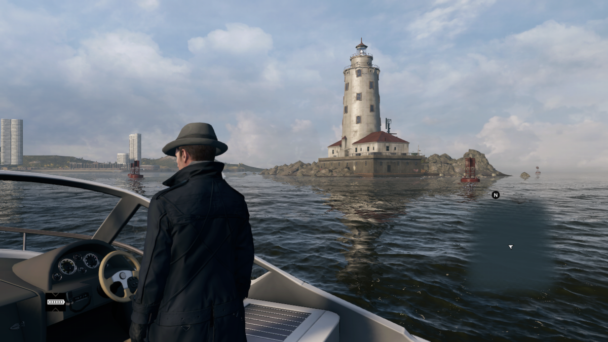 "The Harbor Lighthouse in game. You can see the ""Mad Mile"" to the left and sort of the illusion of a rip-rap on the left side of the island. In case you're wondering YES you can get stuck in a glitch trying to climb them sometimes…"