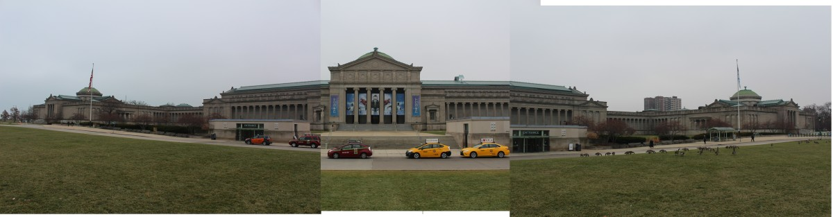Ok this is actually the Museum of Science and Industry, but I tried to combine three pictures together and… Well now I know how the people that restored How The West Was Won feel….