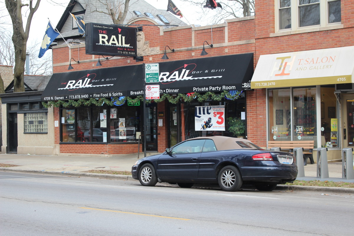 The Rail Bar as of December 2015, just down the street from the Damen Brown Line Station. Speaking of Brown Lines, no I've never been THAT drunk. This place is now known as The Ravenswood Station Bar & Grill.