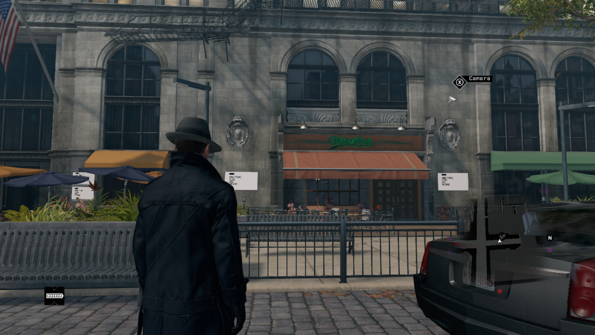 In game the bar is on a footpath that you can still totally drive down. It's a freeroam game, you can go where the hell you want while driving! For legal reasons the inside of the bar looks much different than either of the real-world locations.