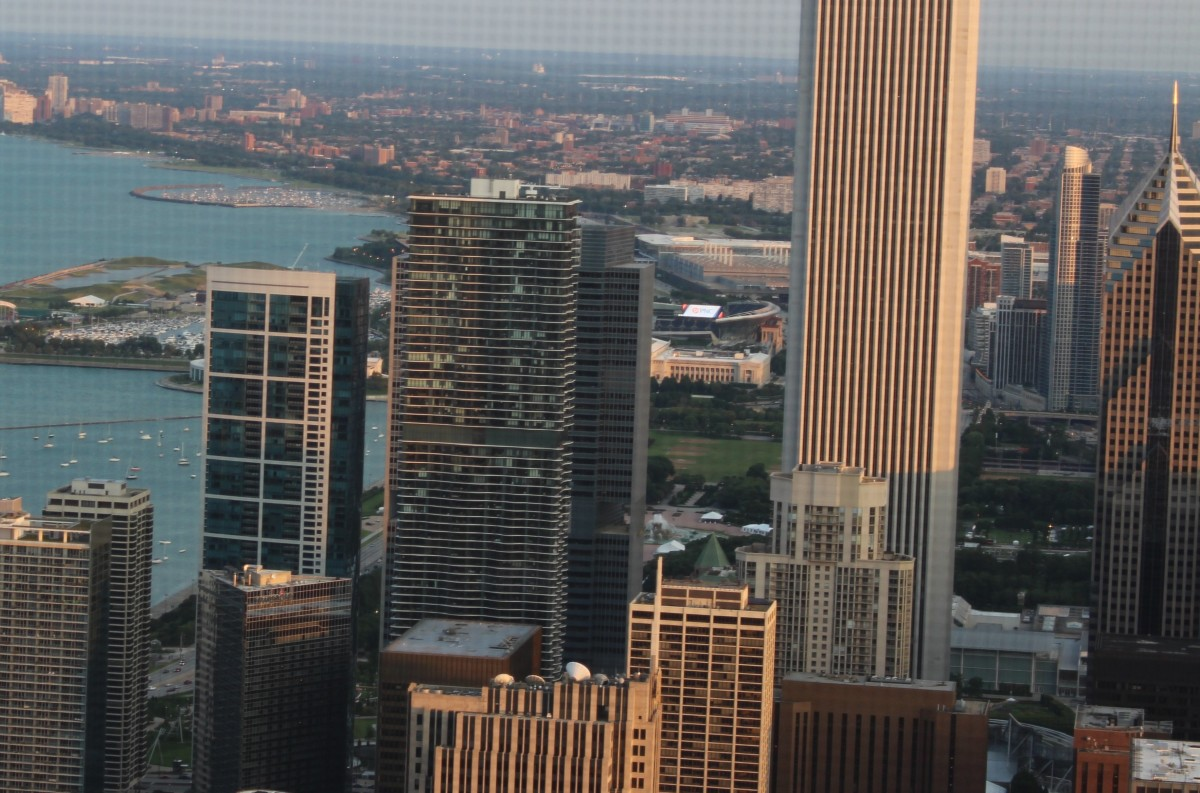 Aqua Tower from the top of John Hancock Building. Taken in July 2015.