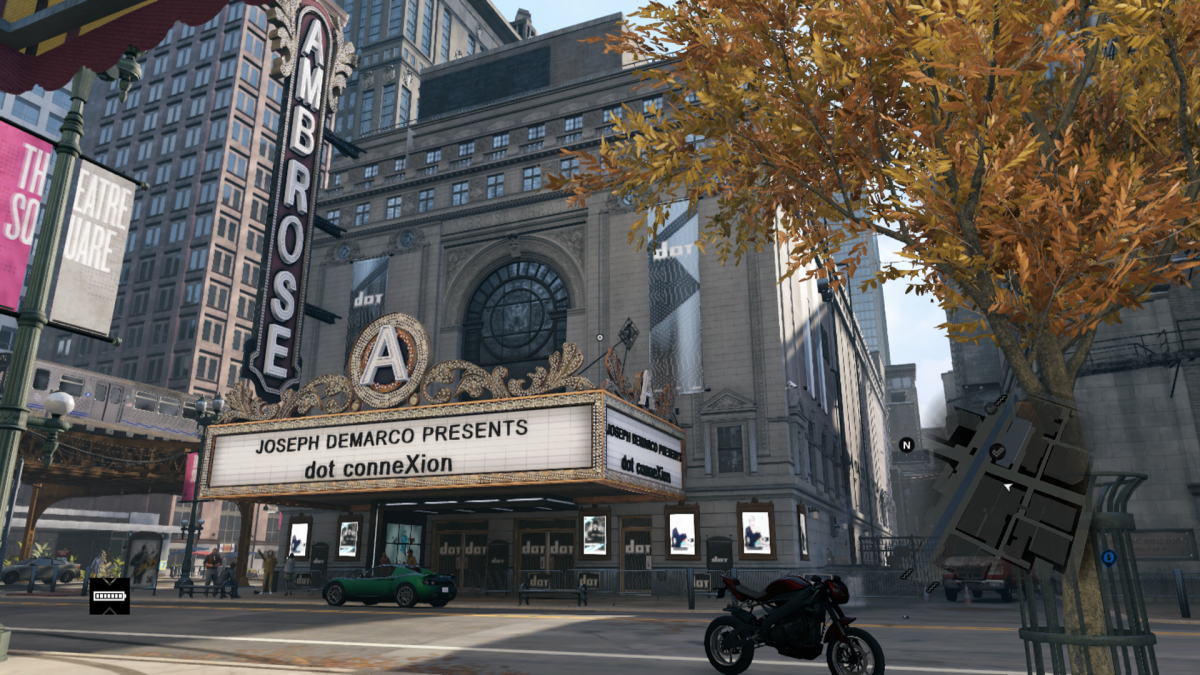 In Watch Dogs State Street isn't depicted as a grand street. The theater looks like it has it's own block. There's still an L Station nearby and an alley on the right.