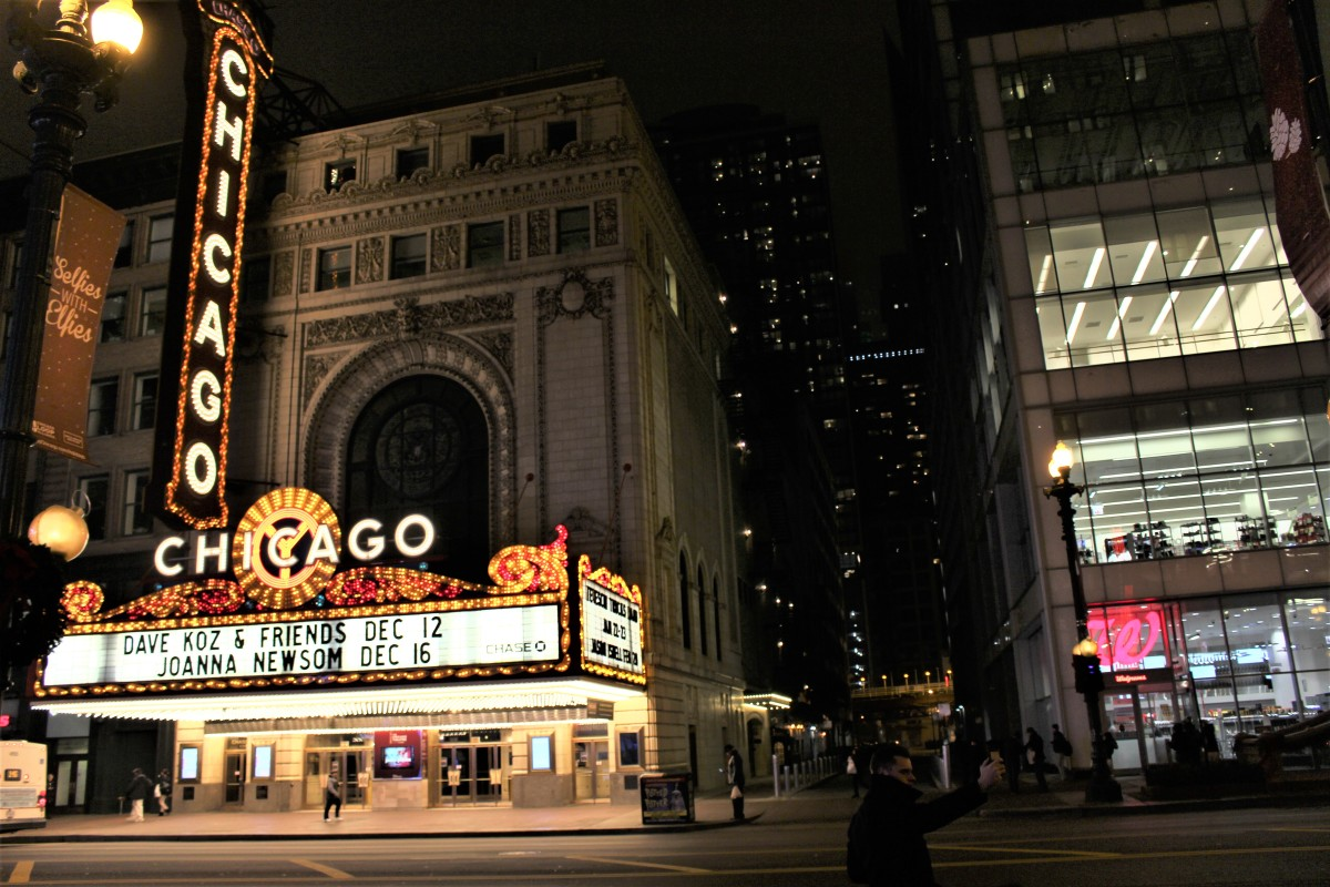 The Chicago Theater, picture taken in December 2015. I had to touch the brightness up in this picture.
