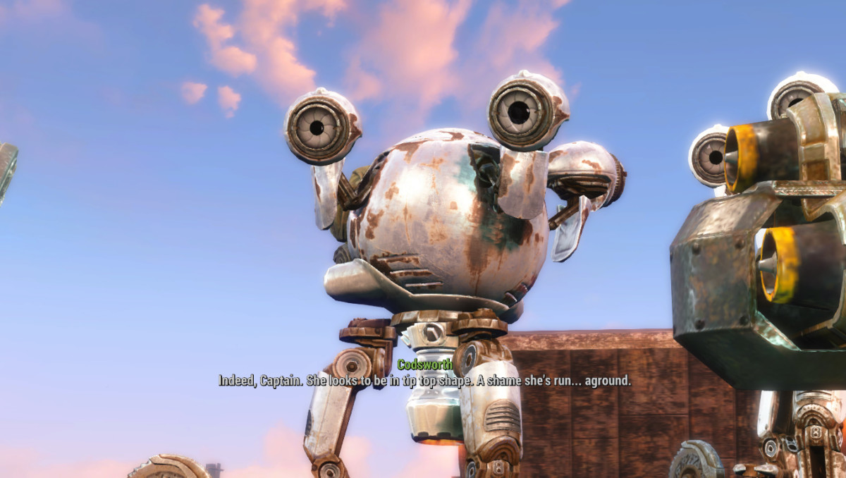 My screenshot of Codsworth on the ship.