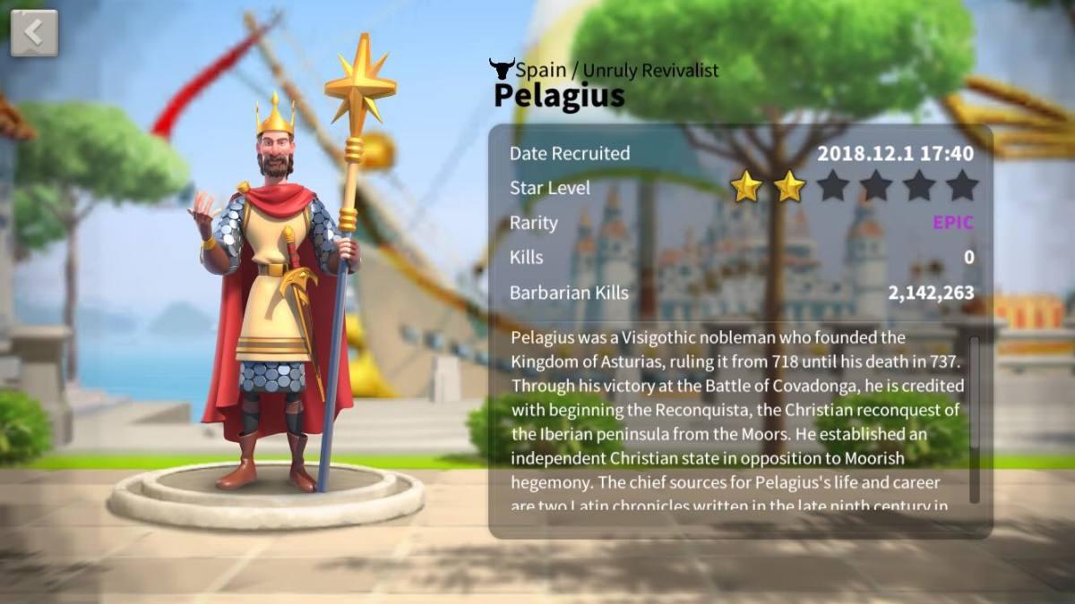 """Commander Pelagius in """"Rise of Kingdoms"""""""