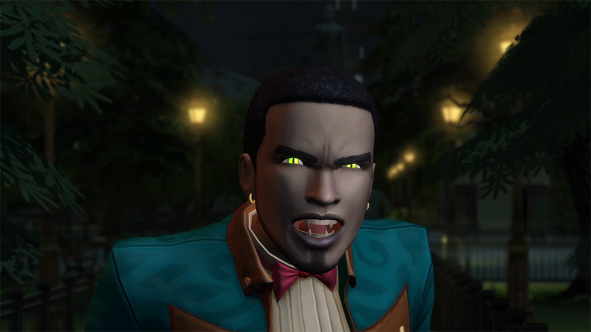 This vampire Sim is definitely showing off his dark form!