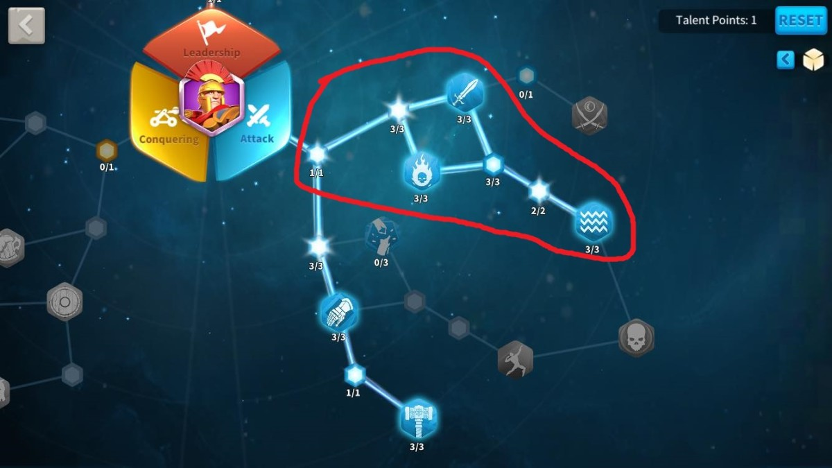 Initial Talents to Unlock in Scipio's Attack Talent Tree