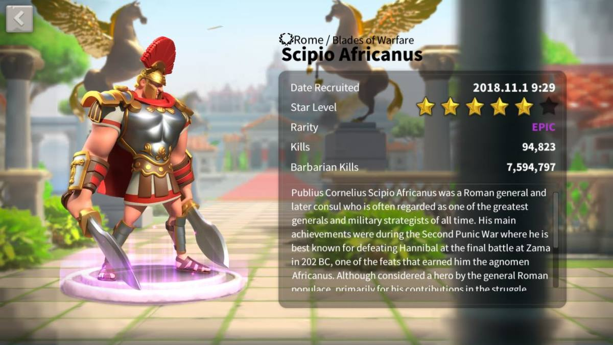 "Meet Scipio Africanus in ""Rise of Kingdoms."""