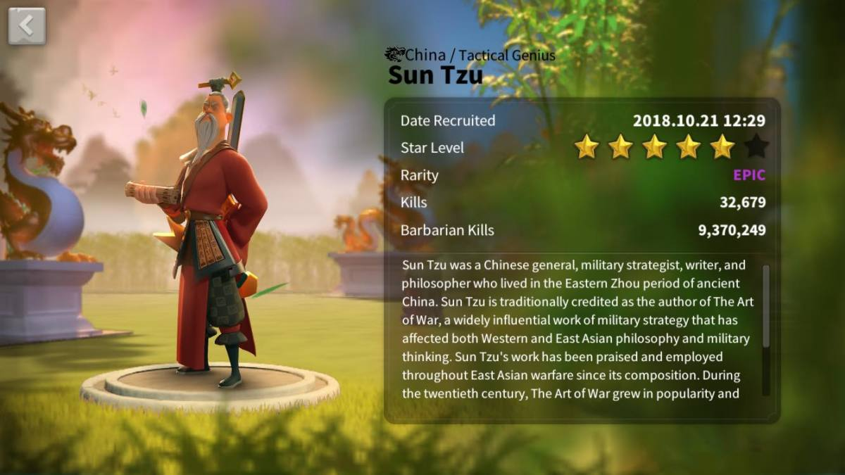 Sun Tzu in Rise o Kingdoms