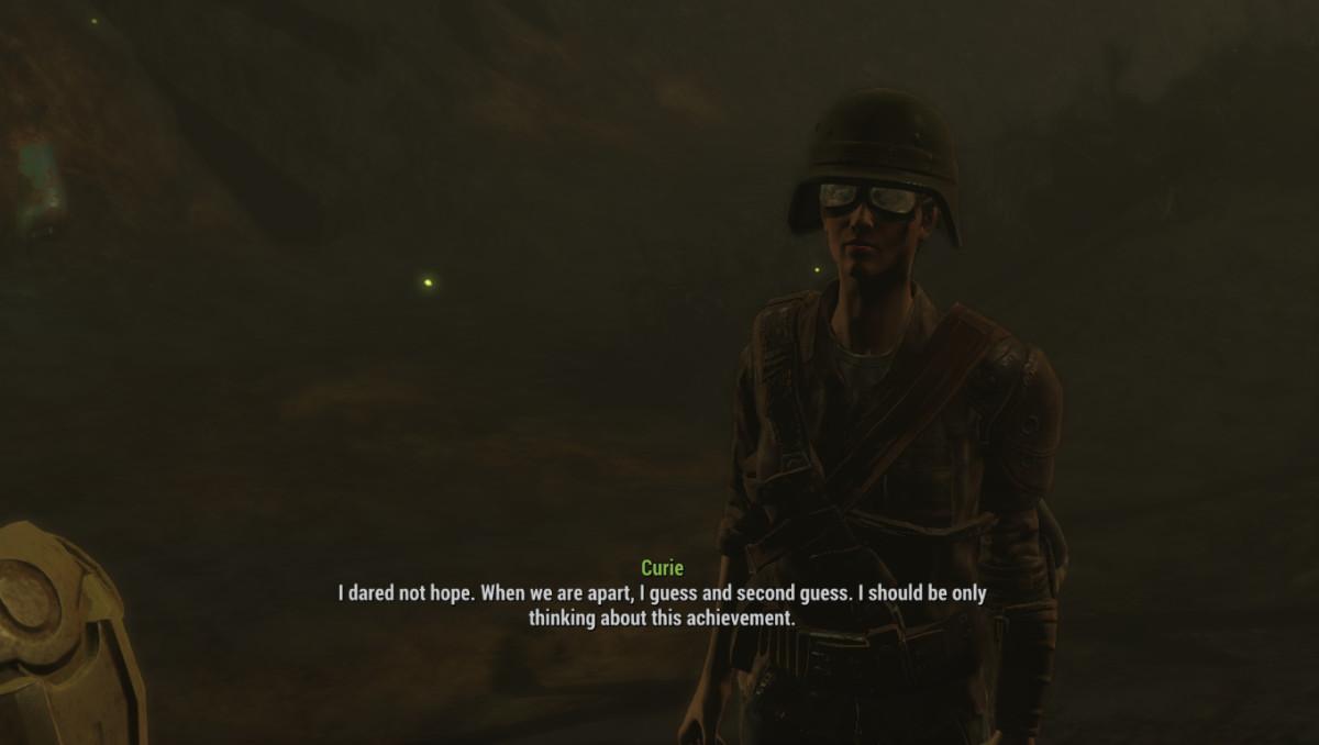 My screenshot of Curie making her love confession . . . in the middle of the Glowing Sea.