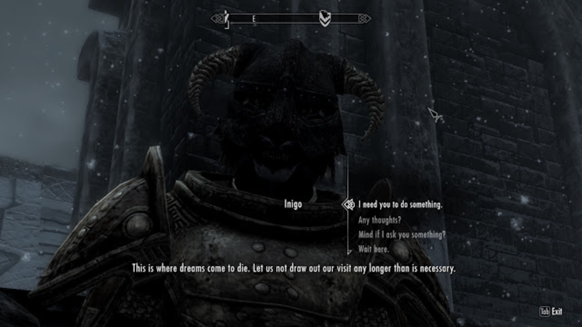My screenshot of Inigo complaining about Windhelm.