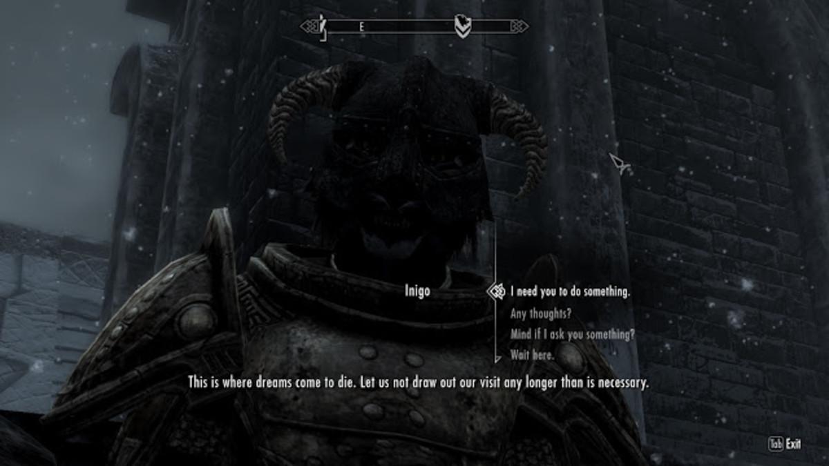 My screenshot of Inigo complaining about Windhelm.