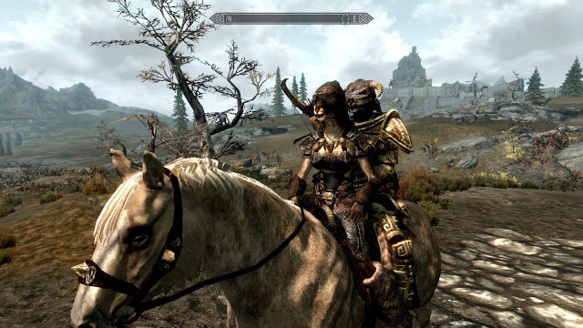 My khajiit hunter riding with Inigo using a mod.