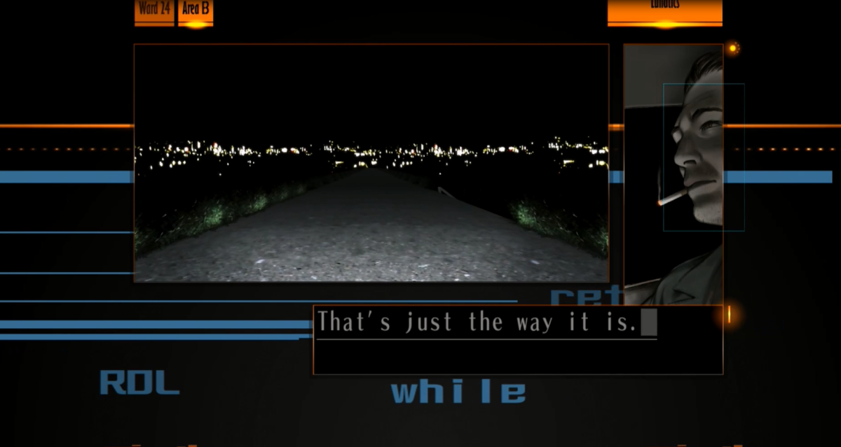 The Silver Case presents its story through a smaller screen known as the 'Film Window'. This allows visuals to play alongside the text-box dialogue.