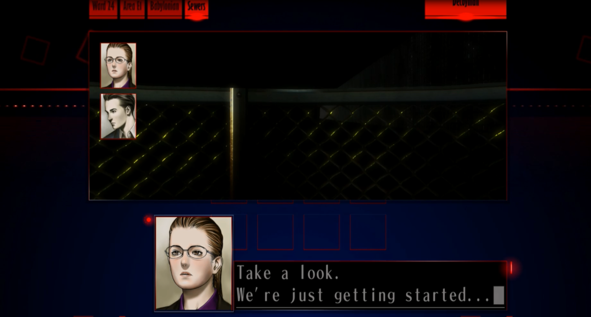 The Silver Case occasionally allows players to interact with multiple characters during certain scenes. Characters can be selected for conversation using the directional buttons.