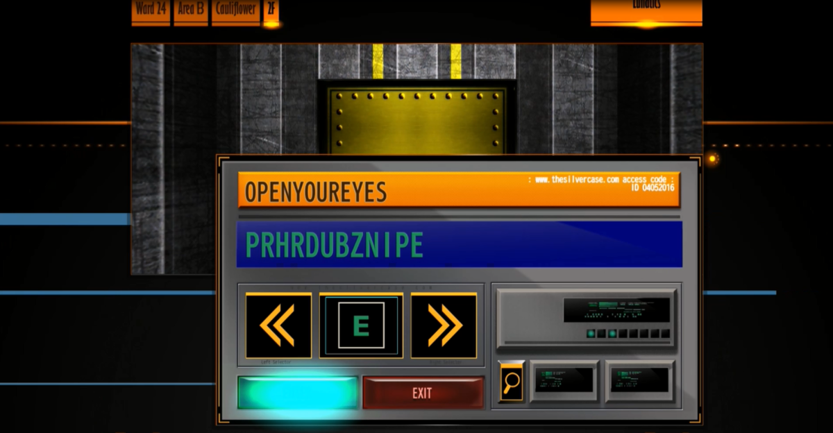 The Silver Case implements several different puzzle elements which range in difficulty. The game also allows players to bypass some puzzle challenges with a yellow magnifying glass symbol.