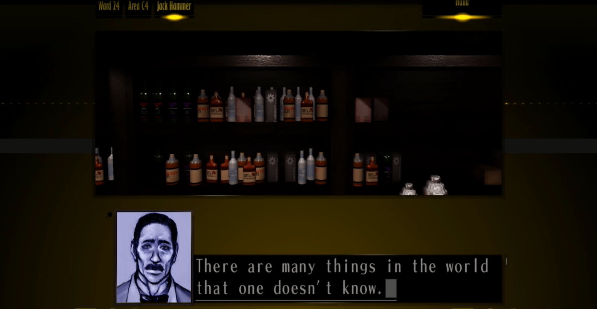 The Silver Case has a number of pre-rendered backgrounds which are visited at certain points of the game. Some places are re-visited more often than others such as the Jack Hammer bar.