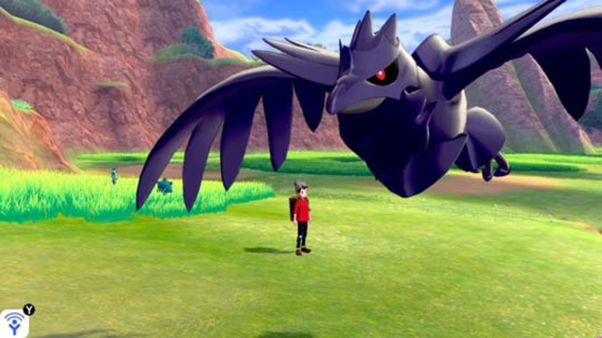 Corviknight encountered in the Wild Area in Pokémon Sword and Shield.