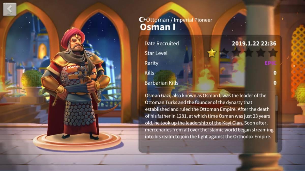 "Osman I Profile Page in ""Rise of Kingdoms"""