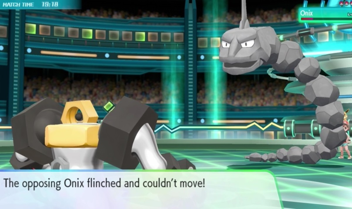 Melmetal flinches Onix with Double Iron Bash