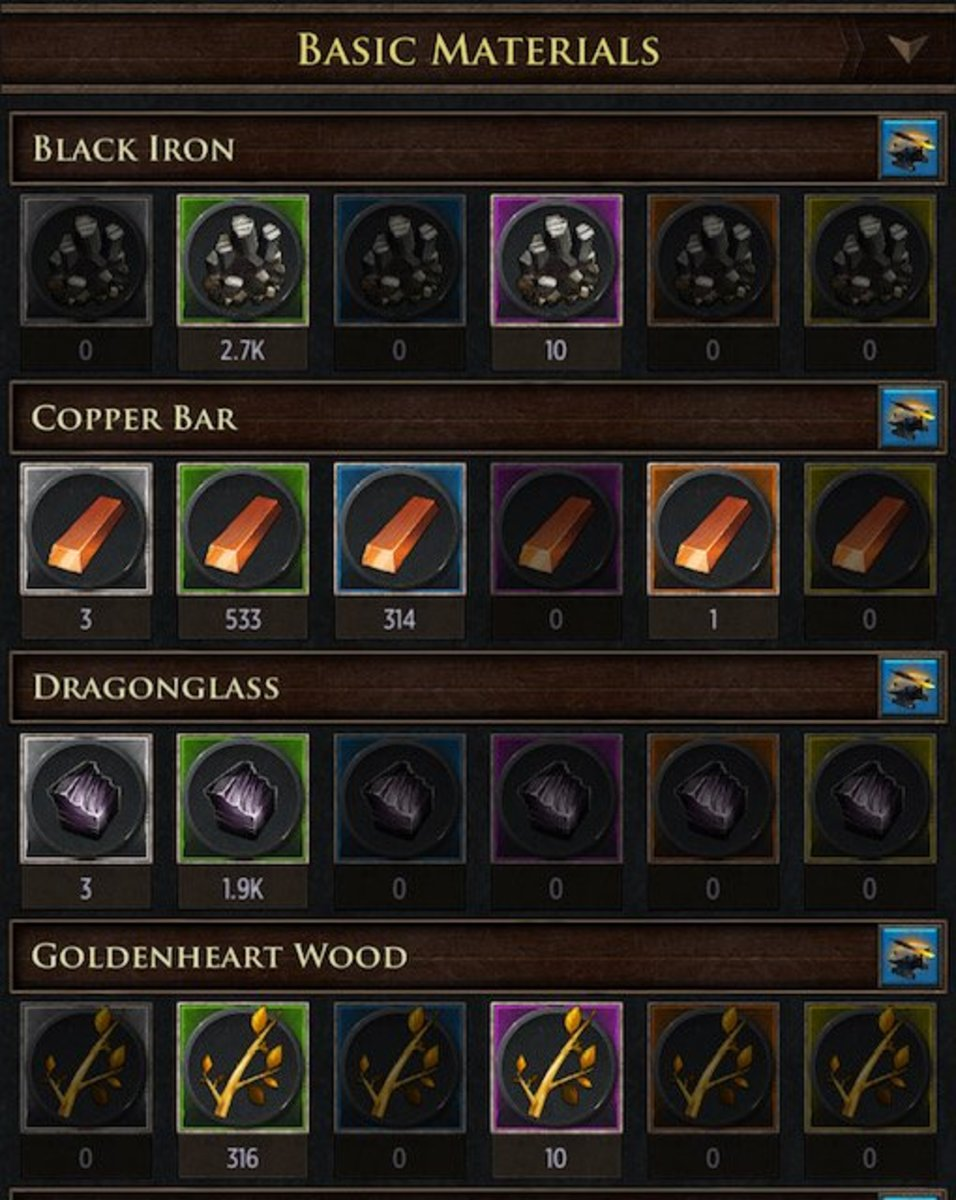 "This is what you'll see when you open the ""Materials"" screen from your Smithy.  Quality levels are as follows: gray (poor), green (common), blue (fine), purple (exquisite), orange (epic), yellow (legendary)."