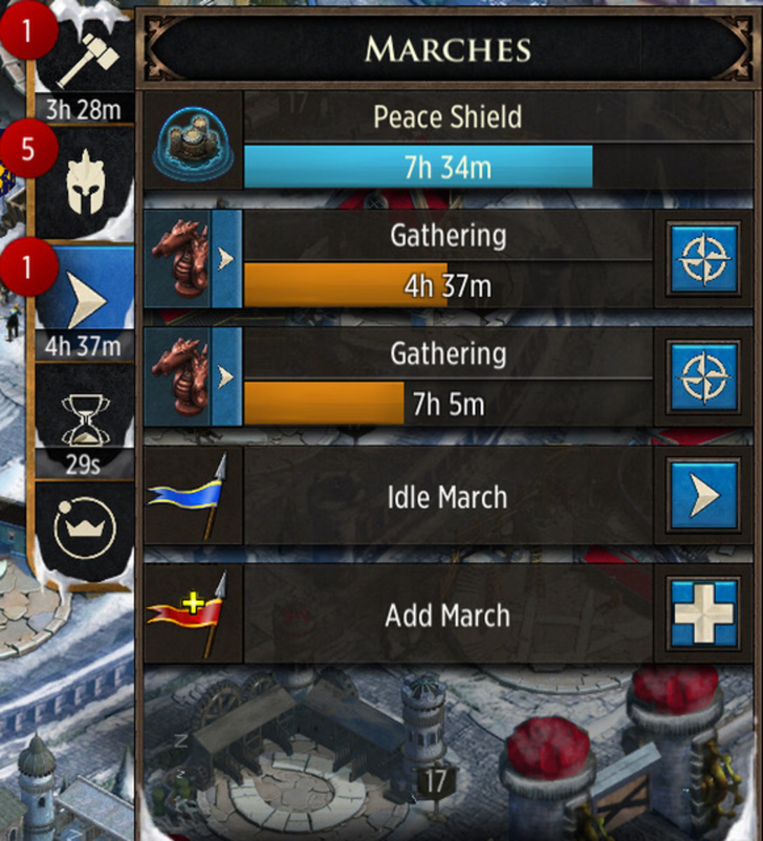 "Opening up the ""Marches"" sidebar shows you how much time is left on your peace shield. During this time, your city cannot be attacked. Share your peace shield with others by having them reinforce you as your city is shielded."