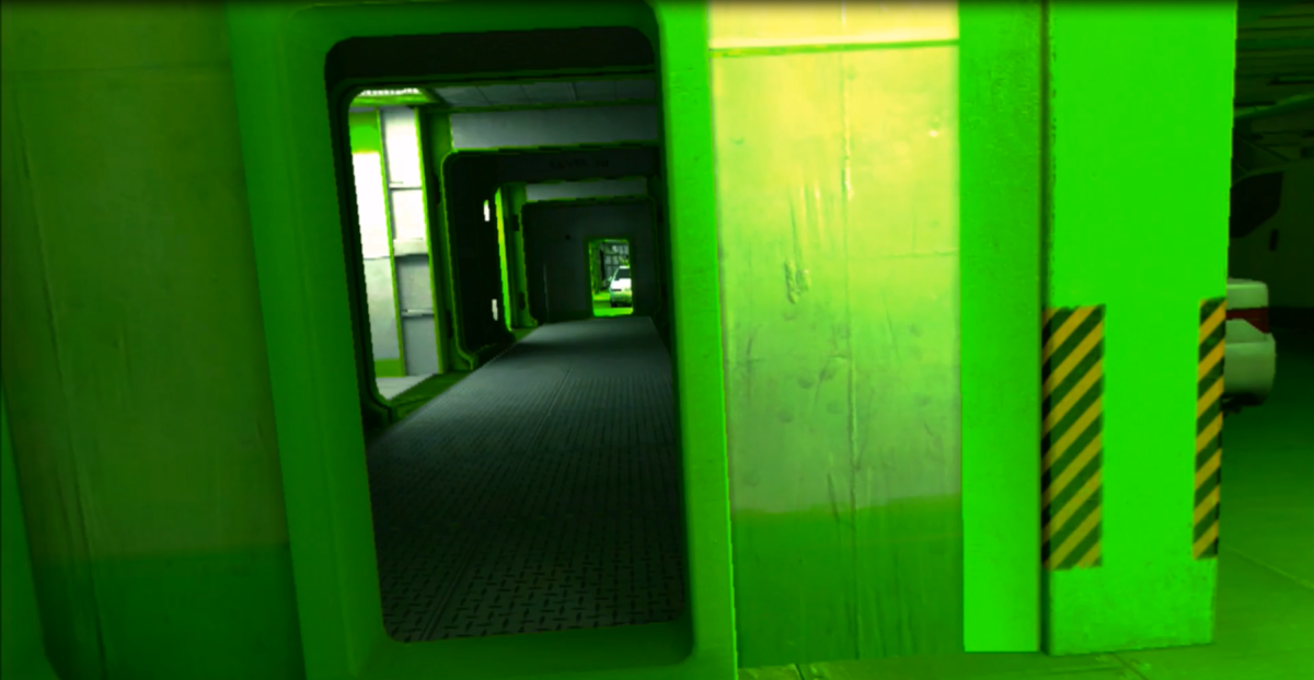 Faith explores an area inside of 'The Boat' chapter. Note the vibrant green colouration, a staple of this particular level.