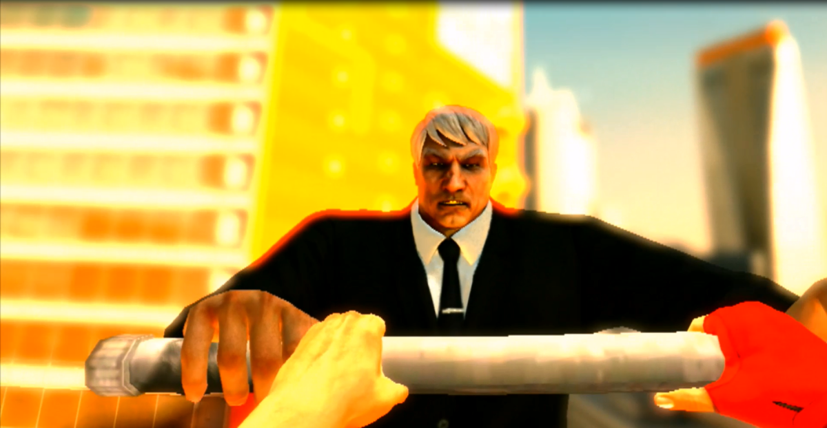 Faith encounters the ex-wrestler known as 'Ropeburn'. This scene showcases a sample of the game's real-time combat system.